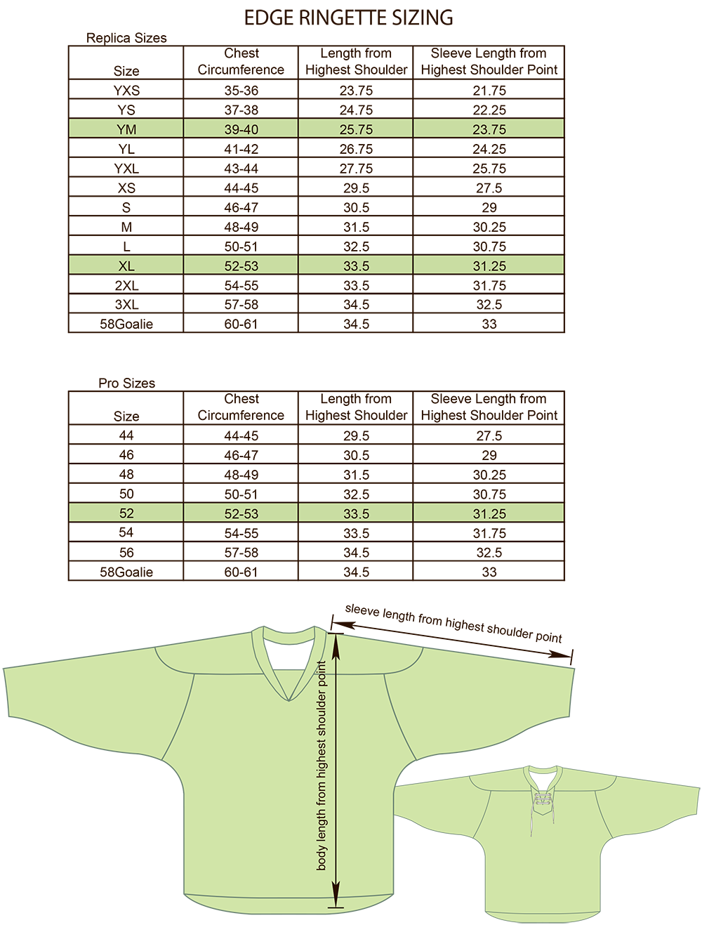 Edge Style Ringette Regular and Pro Size Chart Image