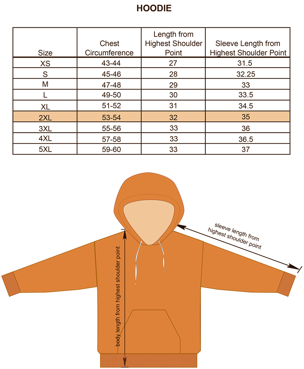 Hoodie Size Chart Image