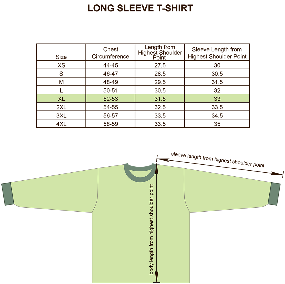 Long Sleeve T-Shirt Size Chart Image