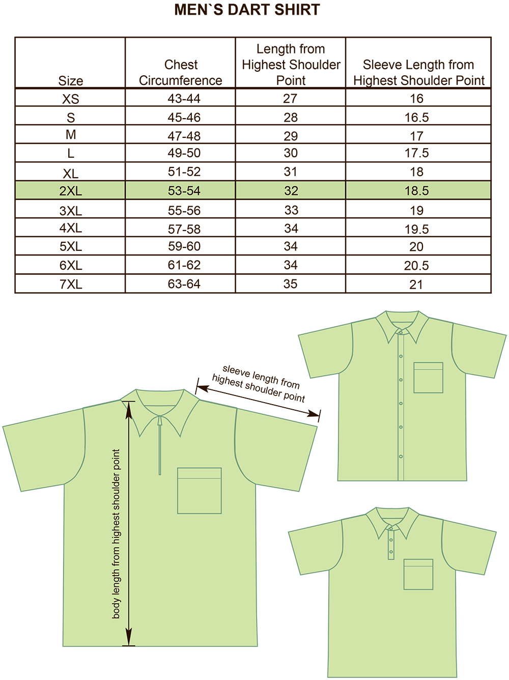 Mens Darts, Bowling and Billiards Shirt Size Chart Image