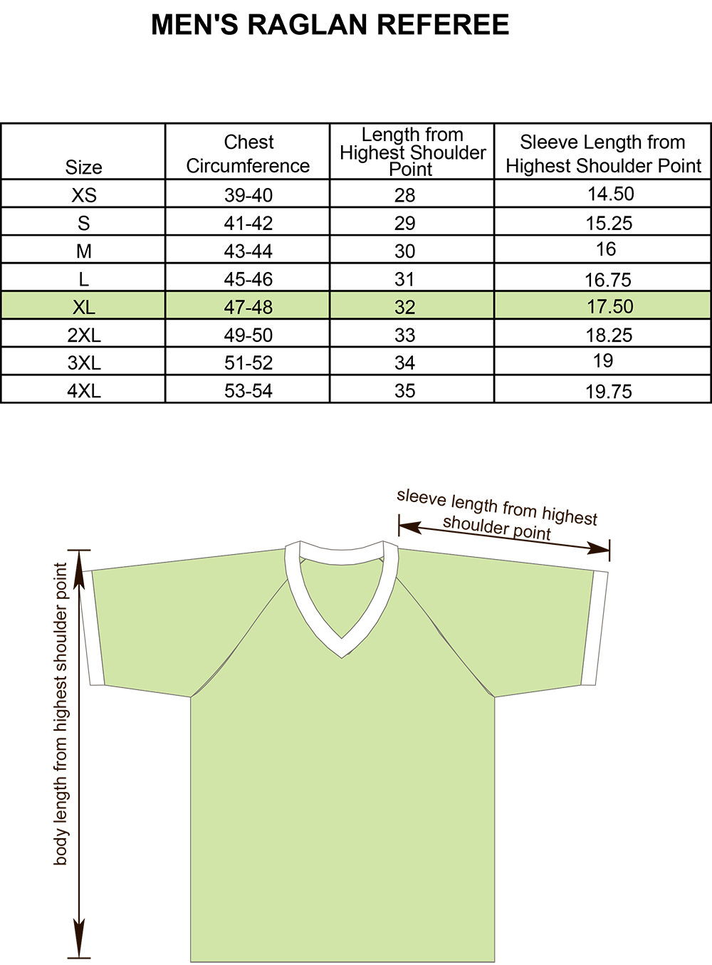 Mens Referee Raglan Shirt Size Chart Image