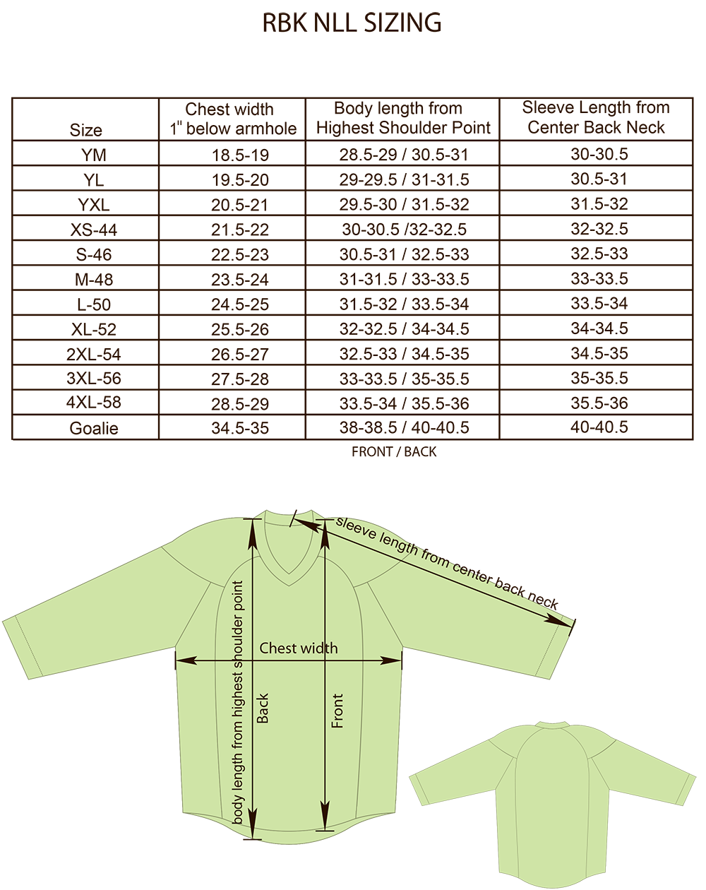 Size charts for products projoy sportswears and apparel reebok