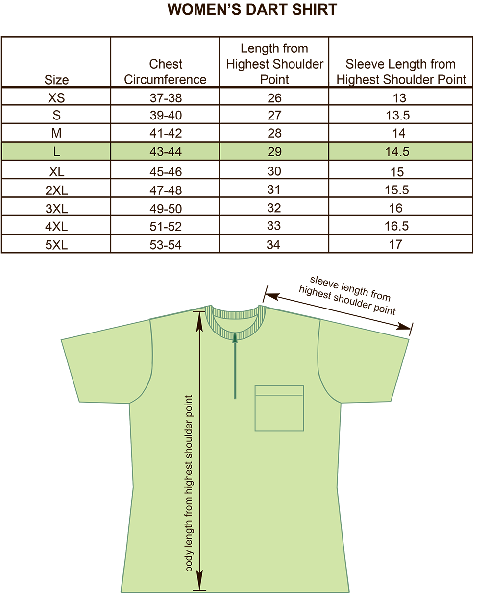 Womens Darts, Bowling and Billiards Shirt Crew Neck Size Chart Image