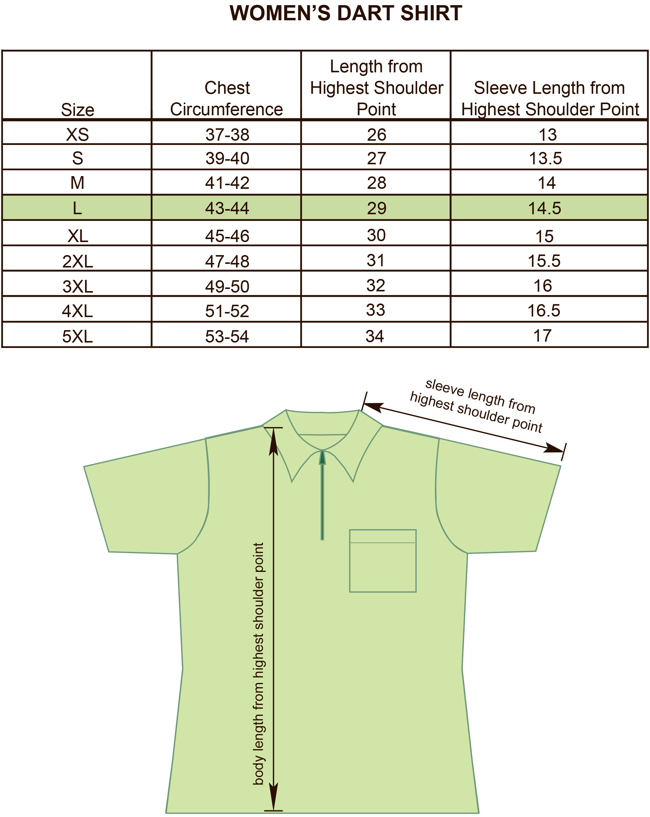 Womens Darts,Bowling and Billiards Shirt Size Chart Image