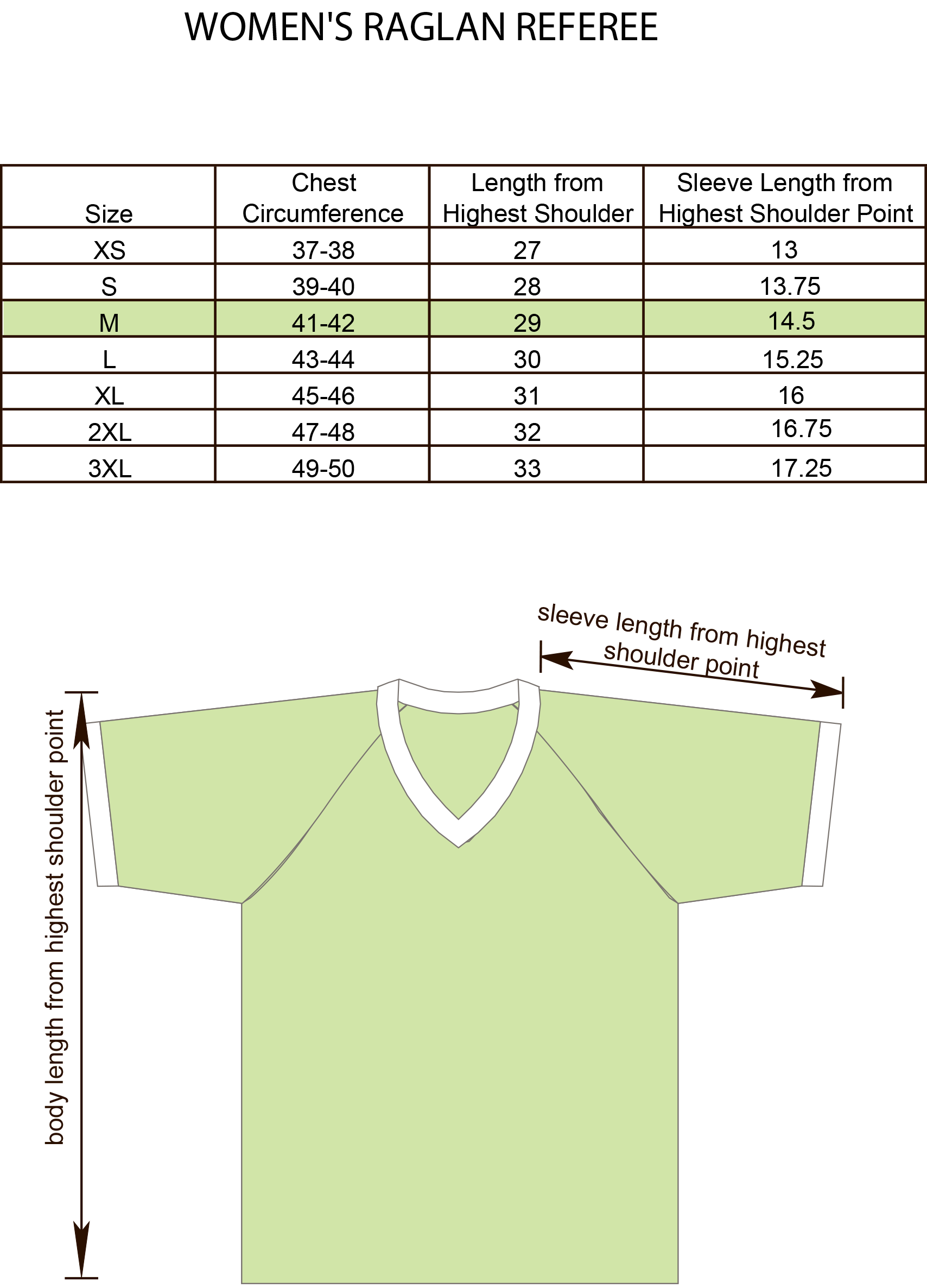 Womens Referee Raglan Shirt Size Chart Image