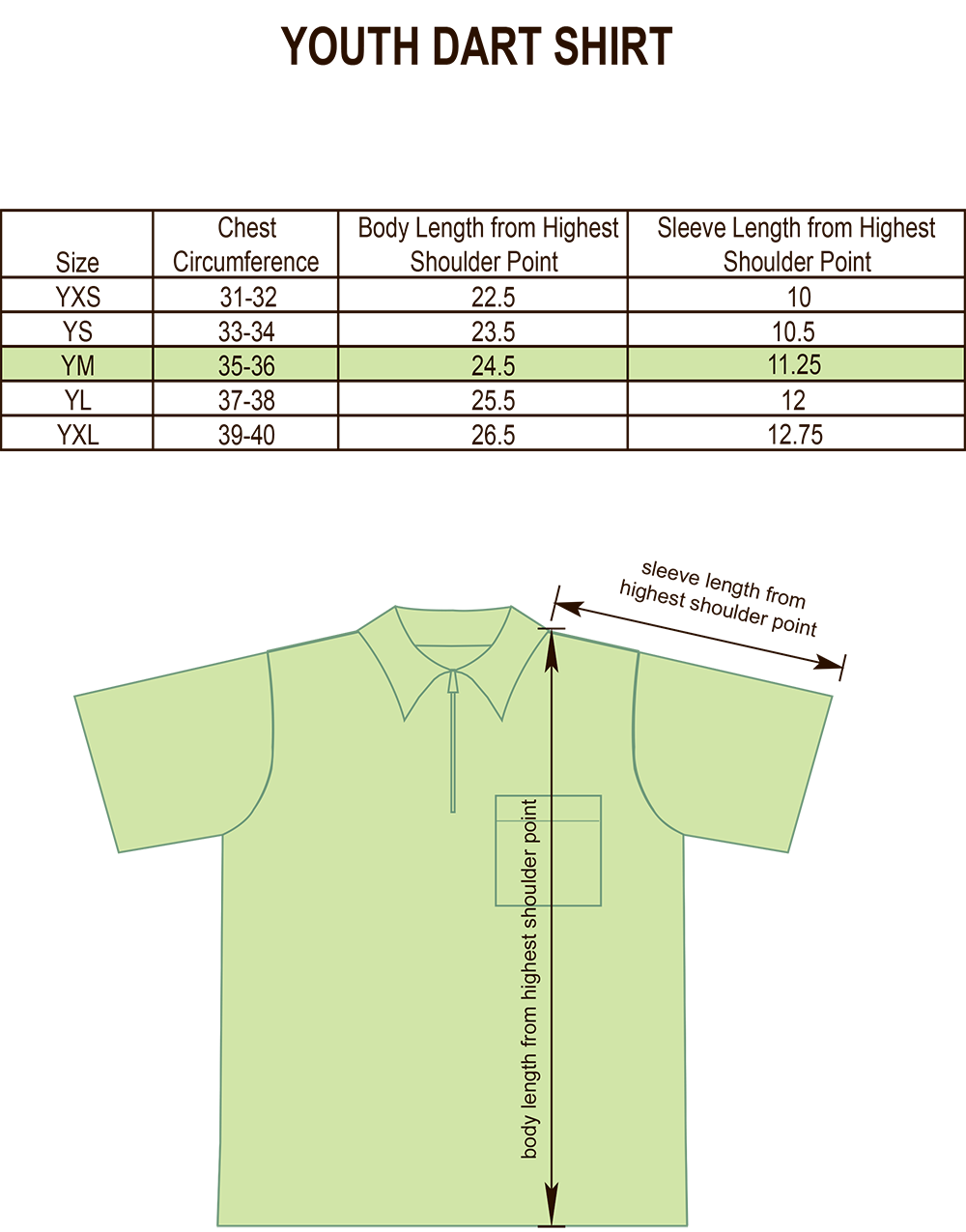 Youth Darts, Bowling and Billiards Shirt Size Chart Image