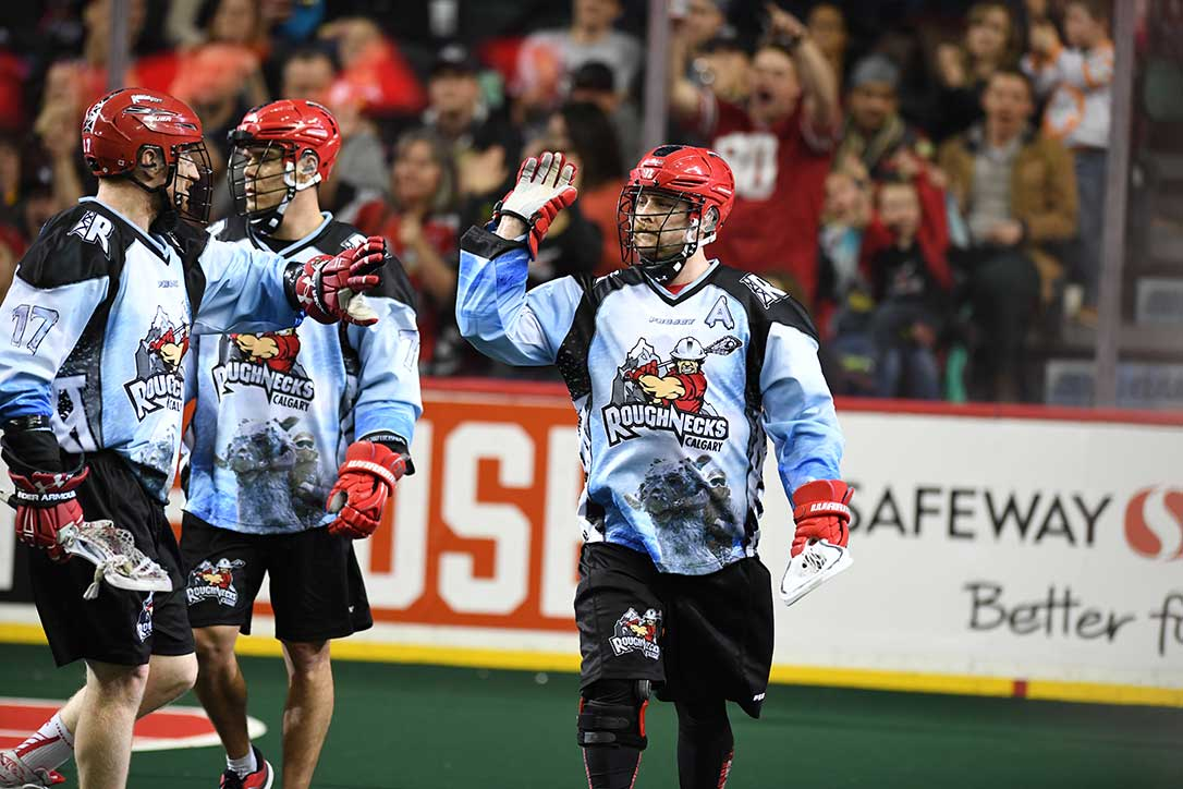 Official Jerseys of the NLL Calgary Roughnecks in Action